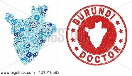 Vector Collage Burundi Map With Healthcare Icons, Labs Symbols, And Grunge Healthcare Stamp. Red Rou