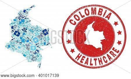 Vector Mosaic Colombia Map With Injection Icons, Laboratory Symbols, And Grunge Healthcare Imprint.