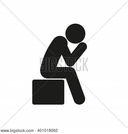 Icon Of A Lonely Sad Person. Simple Vector Illustration On A White Background.