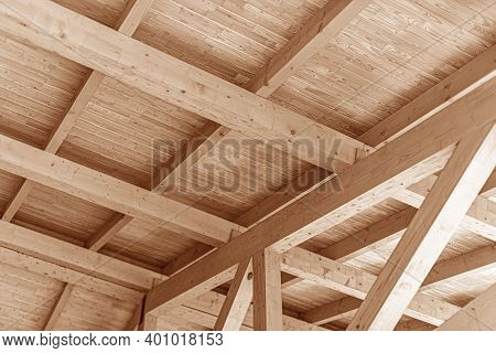 Wooden Roof Construction. Rafters And Roof Beams Close-up.