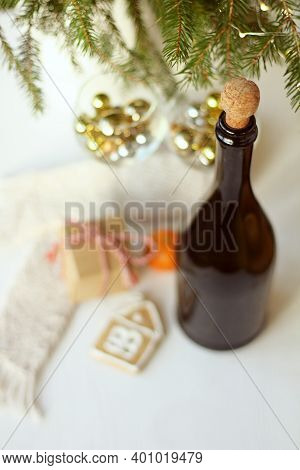 Blurred Decoration With A Festive Table. Christmas Still Life