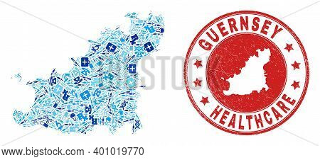 Vector Collage Guernsey Island Map With Medical Icons, Analysis Symbols, And Grunge Doctor Seal Stam