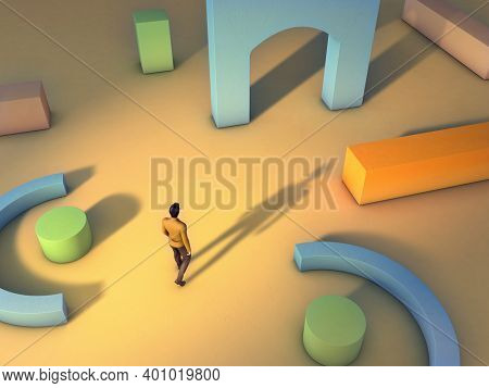 Man walking through an archetectural space made from geometric shapes. 3D illustration.