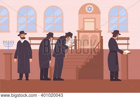 Judaism Religion Flat Composition With View Of Synagogue With Star Of Judah And Characters Of Rabbis