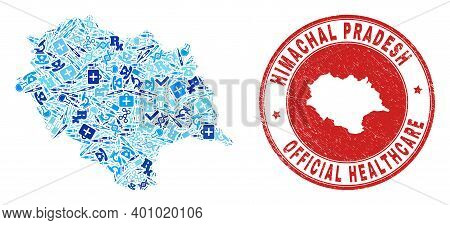Vector Collage Himachal Pradesh State Map With Treatment Icons, Labs Symbols, And Grunge Healthcare