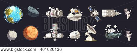 Space Exploration Isolated Set Of Ships Planets Of Solar System Cosmonauts In Spacesuits In Outer Co