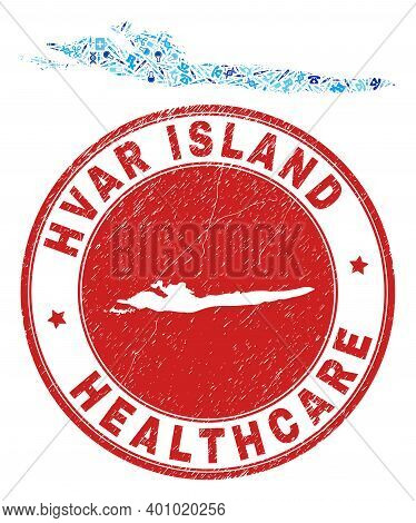 Vector Collage Hvar Island Map With Dose Icons, Receipt Symbols, And Grunge Health Care Rubber Imita