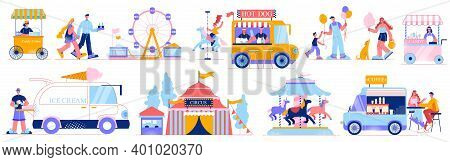 Funfair Amusement Park Set Of Isolated Icons And Compositions Of Human Characters Market Vans And Ar