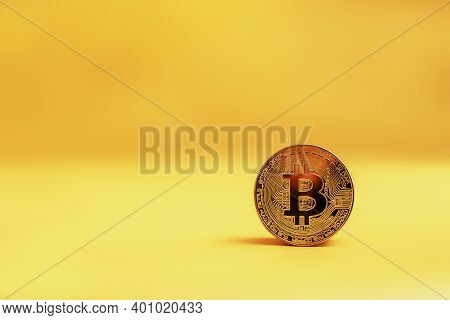 Bitcoin On Orange Fone . Bitcoin Currency And Dollar. Btc Market Symbol Cryptocurrency Rising Above