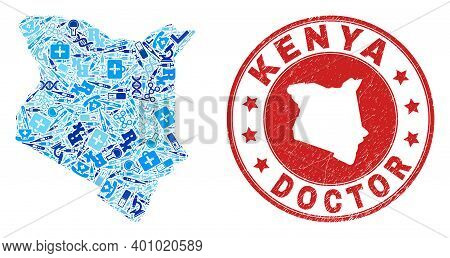 Vector Mosaic Kenya Map With Treatment Icons, Test Symbols, And Grunge Doctor Seal. Red Round Seal W