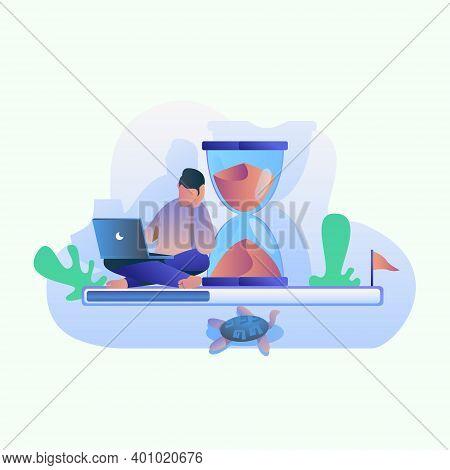 Slow Internet Illustration, Slow Loading Internet Vector Concept