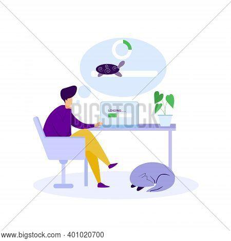 Slow Loading Internet Illustration, No Internet Connection, Slow Network Connection