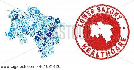 Vector Collage Lower Saxony Land Map With Vaccine Icons, Labs Symbols, And Grunge Health Care Stamp.