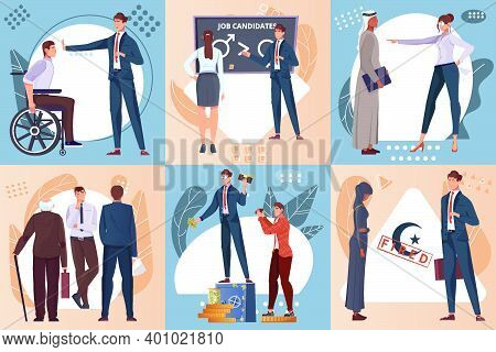 Discrimination Flat Composition Set With Job Candidates With Different Characteristics Discriminated