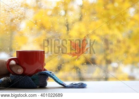 Red Cup With A Blue Scarf In Hand Against The Background Of A Window On A Rainy Autumn Day. Time For