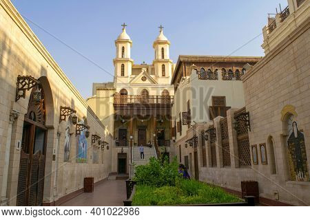 Cairo - Egypt - October 03, 2020: Old Beautiful Orthodox Church In Cairo. Christian Coptic Hanging C