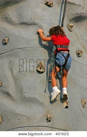 Girl Climbing Rock Wall #2