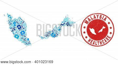 Vector Mosaic Malaysia Map With Medical Icons, Test Symbols, And Grunge Healthcare Imprint. Red Roun