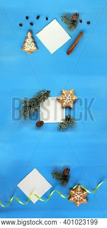 Flat Lay Three Variations Of Christmas Decorations With Place For Inscription Top View. Long Vertica