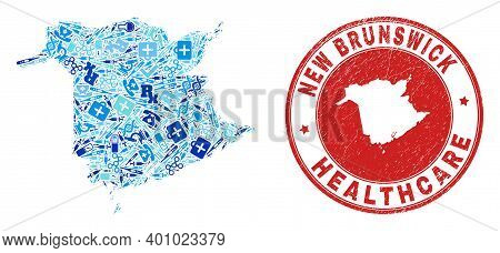 Vector Mosaic New Brunswick Province Map Of Healthcare Icons, Test Symbols, And Grunge Healthcare Se