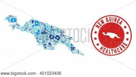 Vector Collage New Guinea Map With Vaccine Icons, Medicine Symbols, And Grunge Healthcare Watermark.