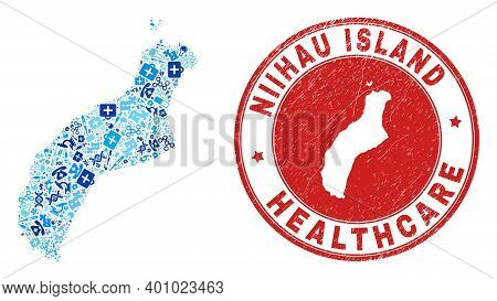 Vector Collage Niihau Island Map With Vaccine Icons, Receipt Symbols, And Grunge Doctor Seal Stamp.