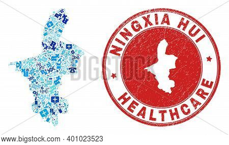 Vector Mosaic Ningxia Hui Region Map Of Inoculation Icons, Chemical Symbols, And Grunge Health Care