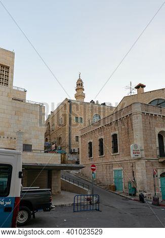 Bethlehem, Israel, December 09, 2020 : The Architecture Of Bethlehem. Manger Street In Bethlehem In