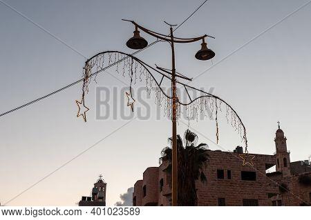Bethlehem, Israel, December 09, 2020 : Manger Street After Sunset With Electric Street Lighting In B
