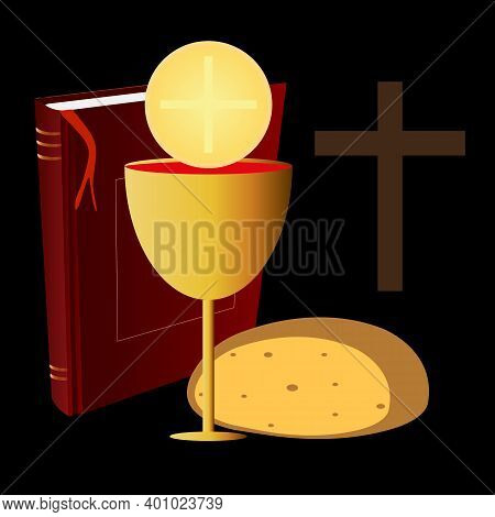 Bible And Chalice With Bread For Communion, Vector Art Illustration.