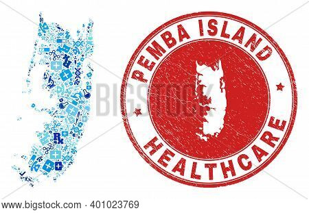 Vector Mosaic Pemba Island Map With Vaccination Icons, First Aid Symbols, And Grunge Health Care Sea