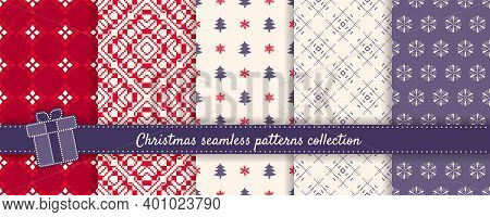 Christmas Seamless Patterns Set. Vector Collection Of Winter Holiday Background Swatches. Cute Simpl