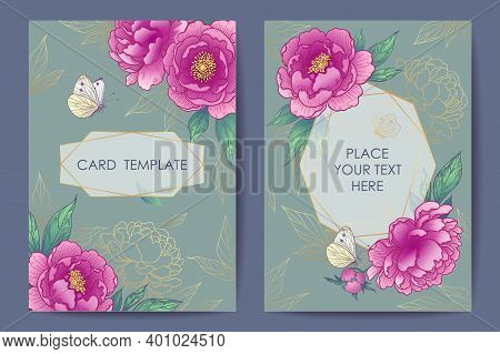 Wedding Invitation, Poster, Greeting Card Template Design With Peonies, Butterflies And Geometrical