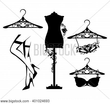 Luxuriuos Haute Couture Women Fashion Atelier Design Set With Vector Silhouettes Of Lingerie And Per