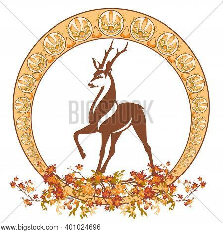 Art Nouveau Style Autumn Season Decorative Vector Frame With Wild Deer Stag Among Maple Tree Branche