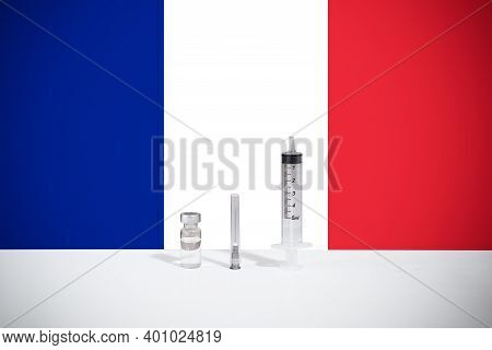 Flag Of France Illustrating Campaign For Global Vaccination Against Covid-19. Epidemic Virus