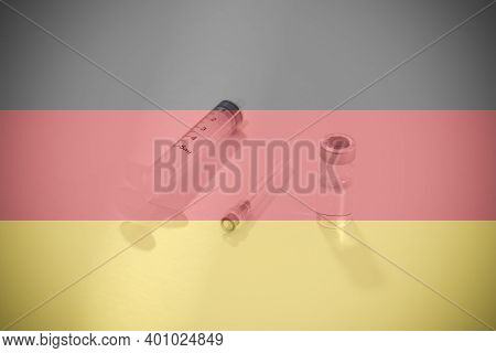 Flag Of Germany Illustrating Campaign For Global Vaccination Against Covid-19. Epidemic Virus