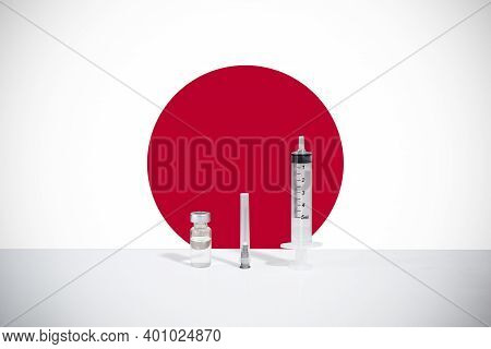 Flag Of Japan Illustrating Campaign For Global Vaccination Against Covid-19. Epidemic Virus