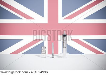 Flag Of United Kingdom Illustrating Campaign For Global Vaccination Against Covid-19. Epidemic Virus