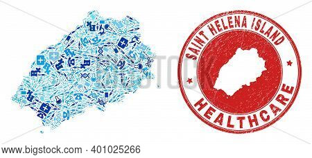 Vector Collage Saint Helena Island Map Of Medical Icons, Hospital Symbols, And Grunge Health Care St