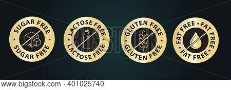 Gluten Free Icon, Fat Free Icon, Lactose Free Icon, Sugar Free Icon, Black Color Golden Vector
