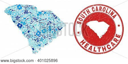 Vector Collage South Carolina State Map With Treatment Icons, First Aid Symbols, And Grunge Doctor S
