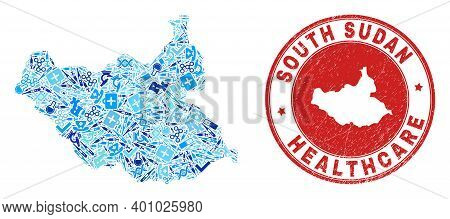 Vector Mosaic South Sudan Map With Medical Icons, Laboratory Symbols, And Grunge Healthcare Imprint.