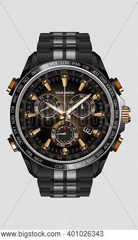 Realistic Clock Watch Chronograph Black Steel Gold Number Luxury On White Background Design For Men