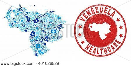 Vector Mosaic Venezuela Map Of Dose Icons, First Aid Symbols, And Grunge Health Care Seal. Red Round