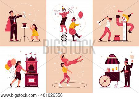 Circus Funfair Design Concept With Set Of Square Compositions With Characters Of Circus Performers A