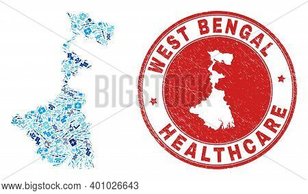 Vector Mosaic West Bengal State Map With Vaccination Icons, Analysis Symbols, And Grunge Health Care