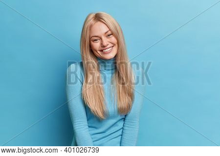 Portrait Of Beautiful European Woman With Toothy Smile Happy To Spend Free Time In Good Company Dres