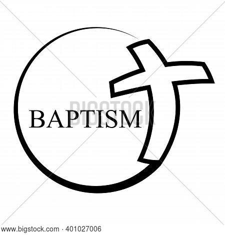 Circular Logo Christ In Baptism, Vector Art Illustration.
