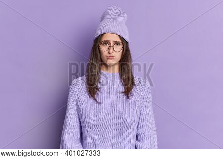 Displeased Teenage Girl Has Sulking Gloomy Expression Purses Lips Looks Offended Wears Big Round Spe